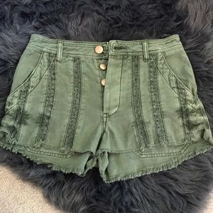 Free People Olive Vintage Wash Buttonfly Shorts